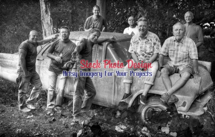 Group of Friends on an old Car 4