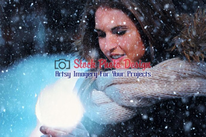 Woman with Magical Lighting Ball in Winter 3