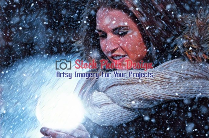 Woman with Magical Lighting Ball in Winter 2