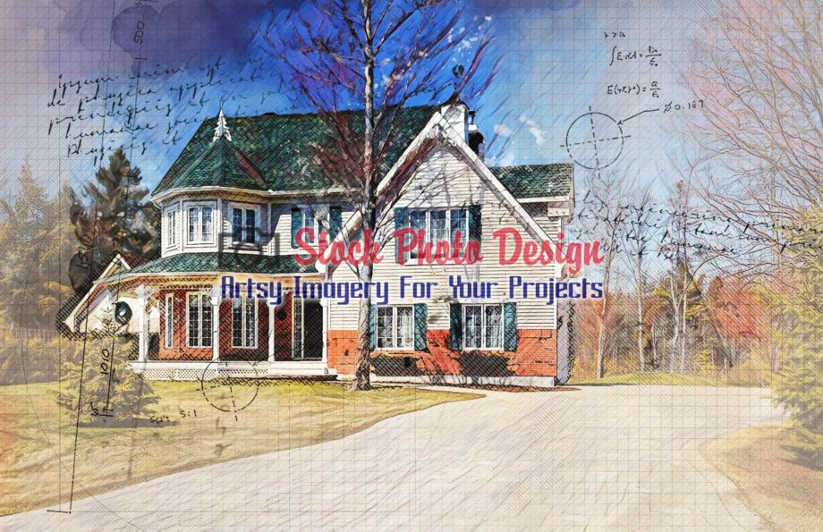 Modern Country House Sketch Drawing 1