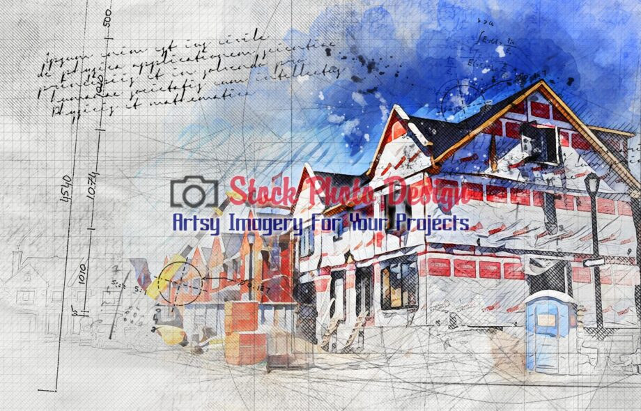 Modern Split Houses in Construction Sketch Drawing 1
