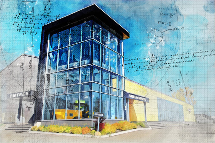 Modern Store in Construction Sketch Drawing 1