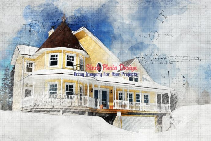 Country Yellow Home Grunge Sketch 1
