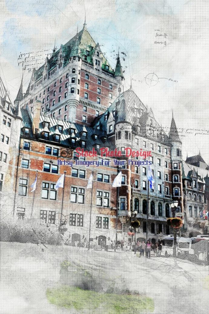 Historic Chateau Frontenac with Grunge Effect 1