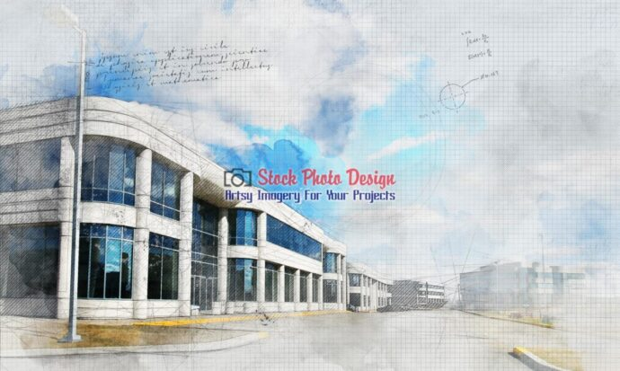 Modern Industrial District with Grunge Effect 1