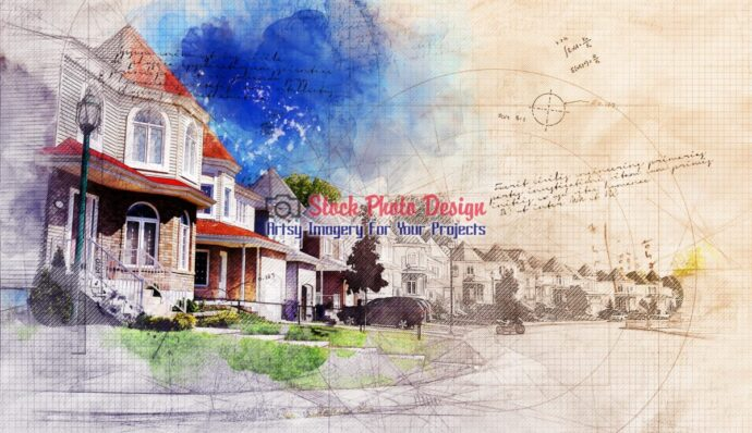 Residential Street with Grunge Sketch Effect 1