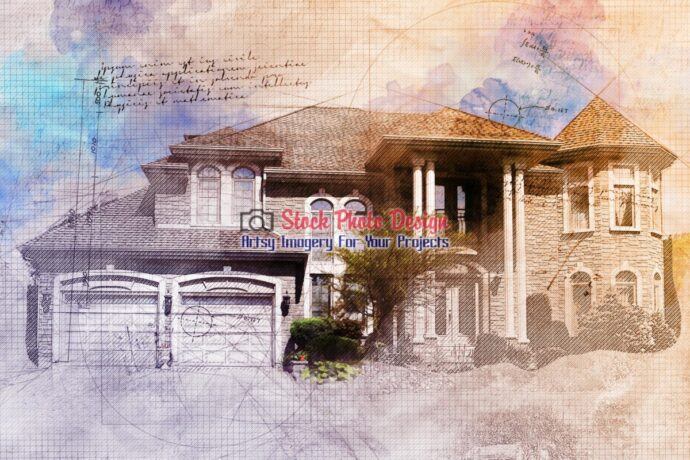 Large Luxury House Grunge Sketch 1
