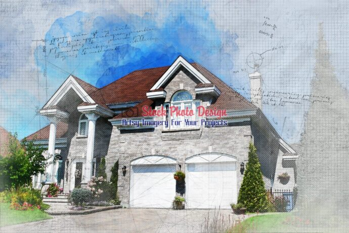 Large Family House with Grunge Effect 1