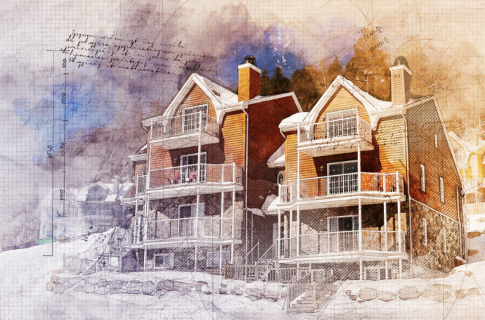 Winter Condominiums Grunge Sketch 1