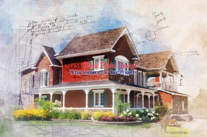 Sketchy Brick House Image 1