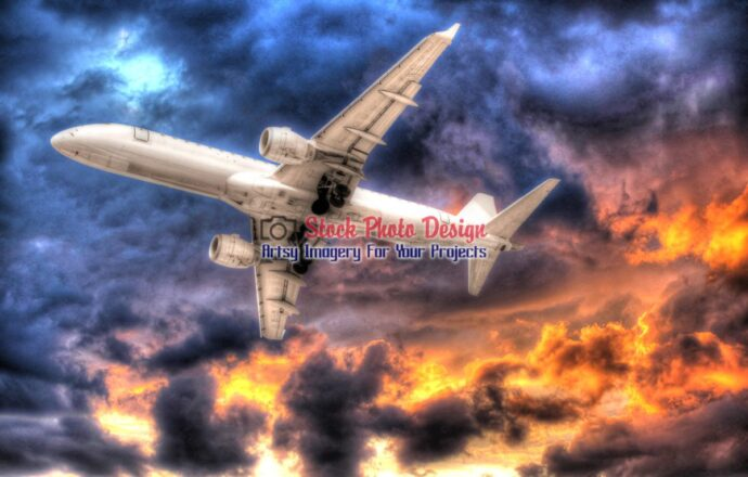 Airplane in Beautiful Sky in HDR