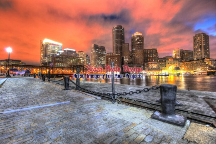 Beautiful Boston Cityscape at Night in HDR