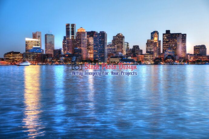 Boston Cityscape and River at Night in HDR