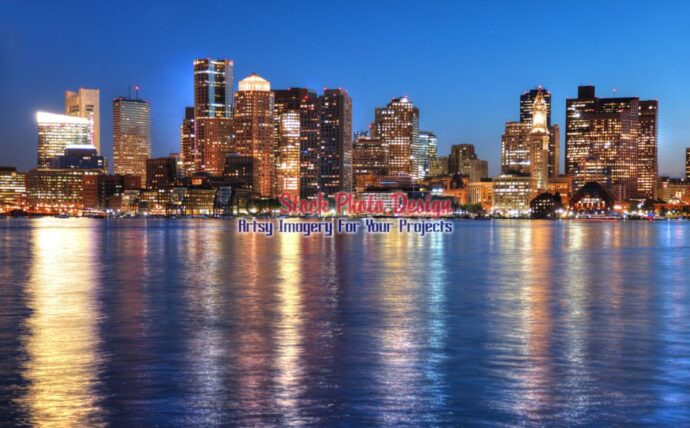 Boston Cityscape at Night in HDR