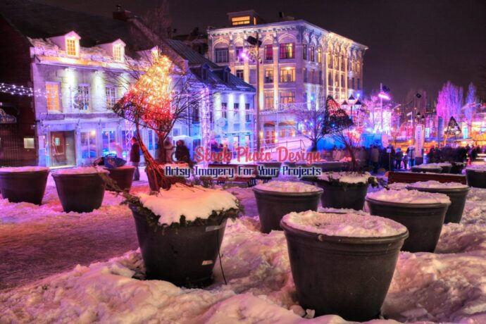 Illuminated Old Montreal in HDR