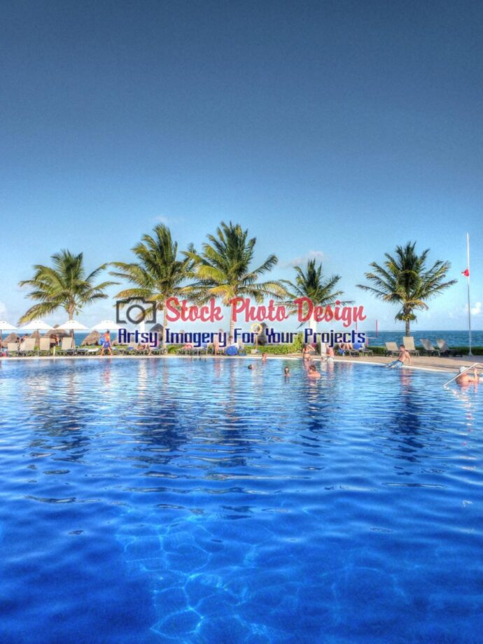 Caribbean Pool with Palm Trees in HDR - Dimensions: 1875 by 2500 pixels