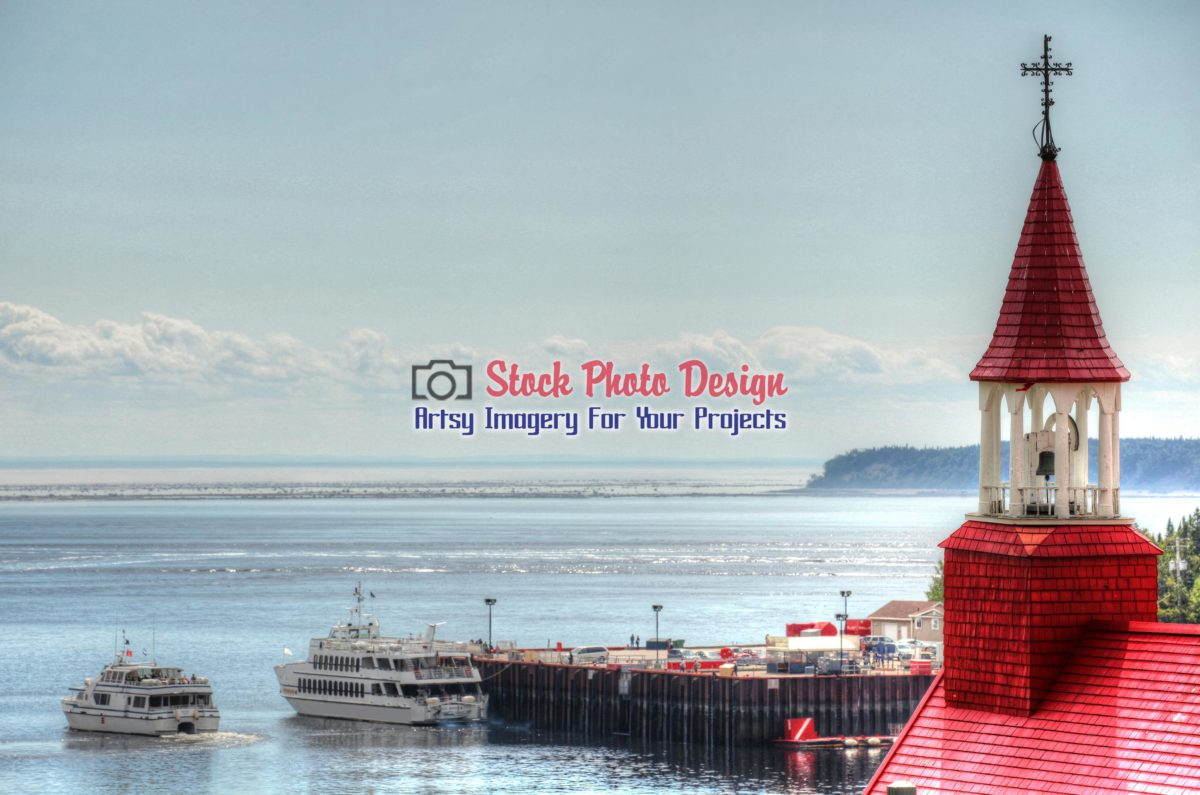 Tadoussac Quay and Chapel in HDR - Dimensions: 3100 by 2053 pixels