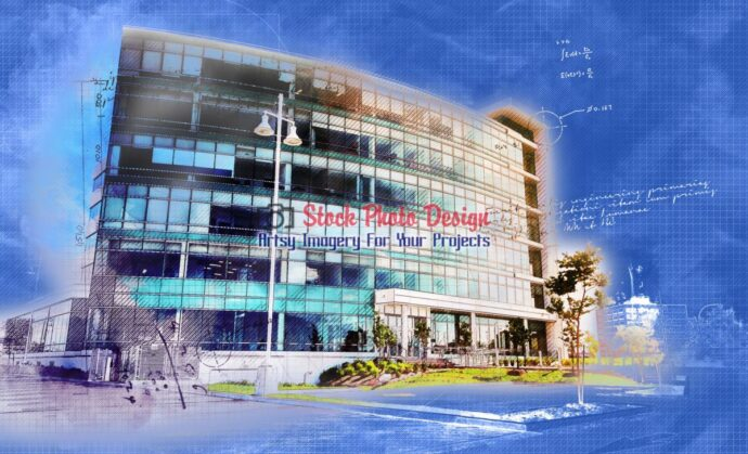 Modern Office Building in Blueprint - Dimensions: 3100 by 1884 pixels
