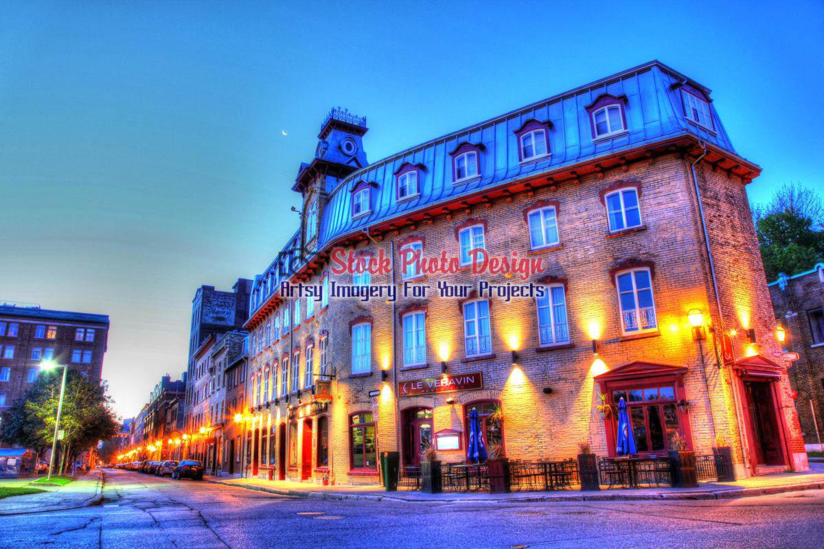 Old Quebec City District Restaurant In Hdr 01 Stockphotodesigncom