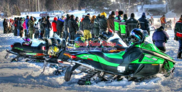 Snowmobiles in HDR