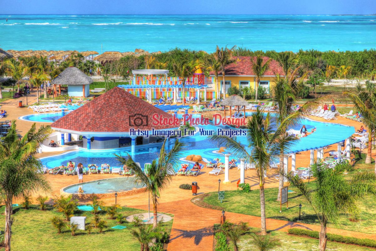 Tropical Resort Pool in HDR - Dimensions: 3100 by 2066 pixels