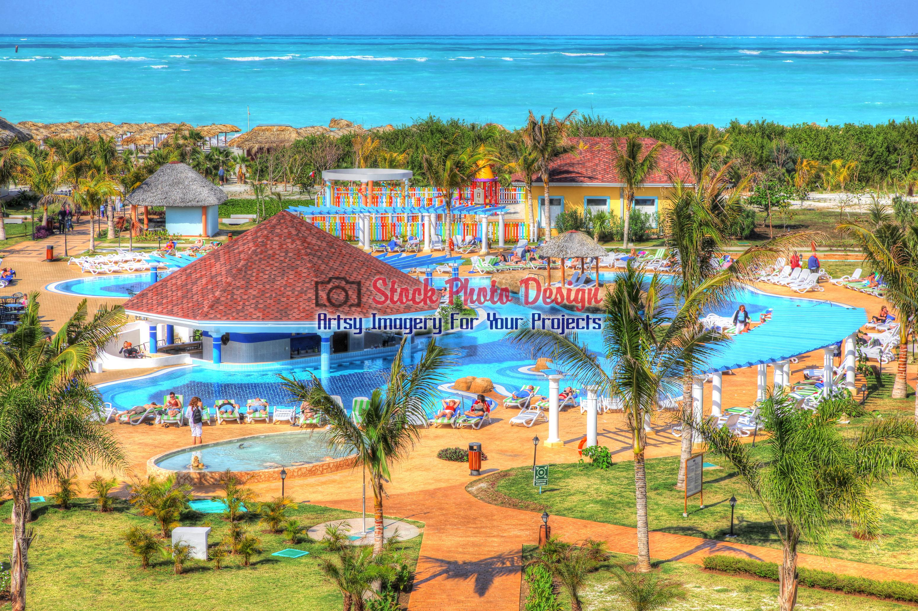 Tropical Resort Pool in HDR - Dimensions: 3100 by 2066 pixels