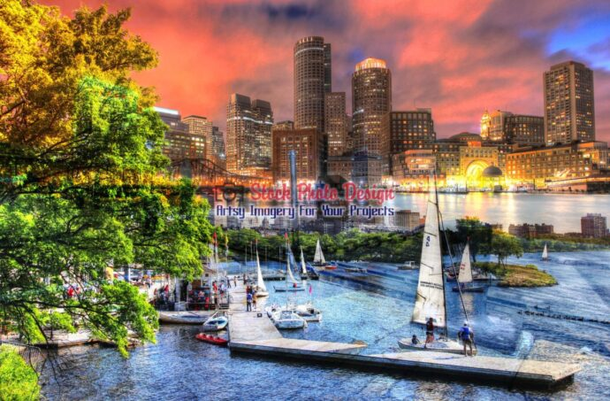 Beautiful Boston Night Cityscape Photo Montage 1