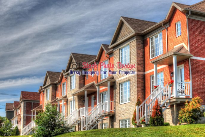 Colorful Brick Row Houses Image 01