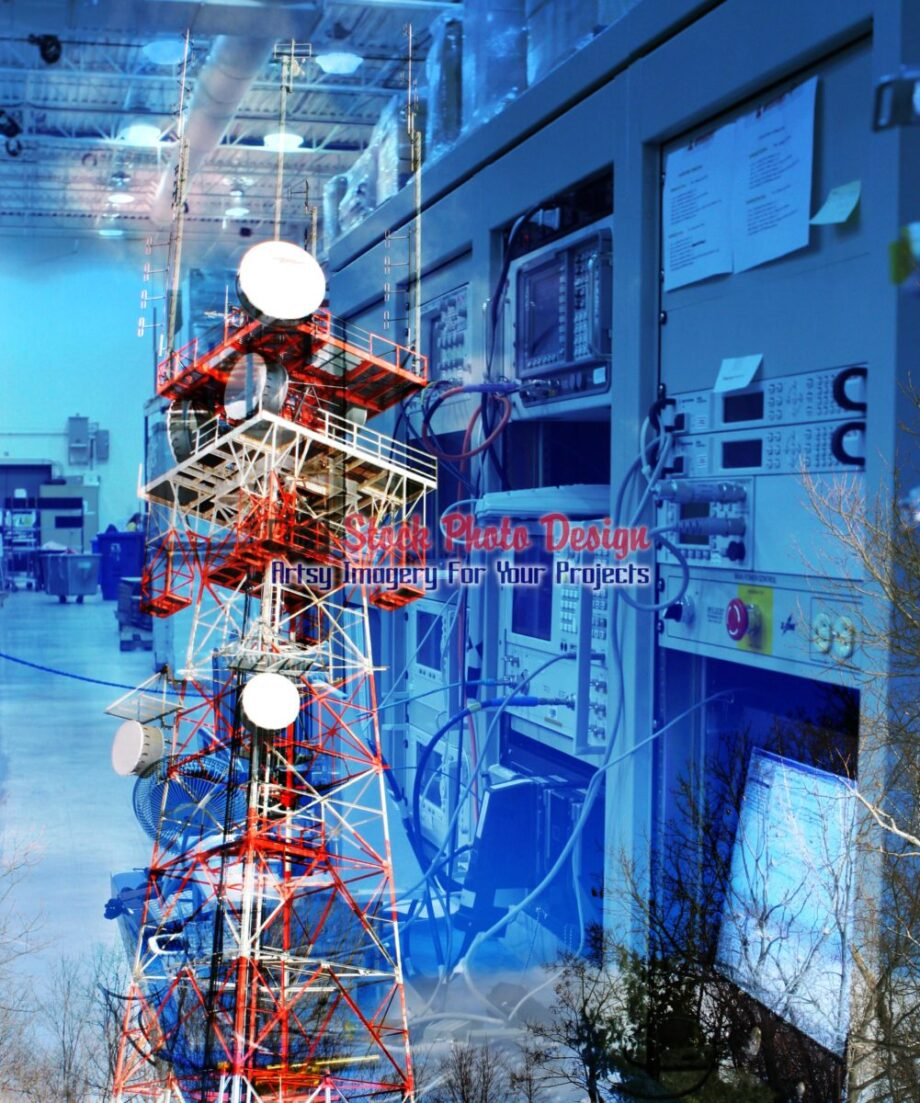 Modern Communication Equipments Photo Montage 01