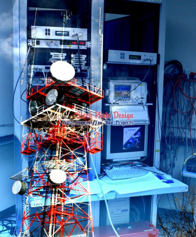 Modern Communication Equipments Photo Montage 04