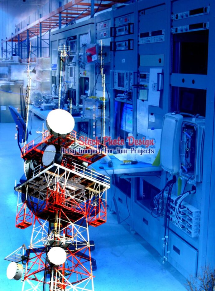 Modern Communication Equipments Photo Montage 05