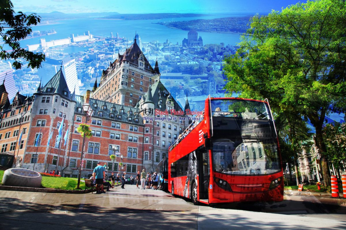 quebec city bus photo montage 03 stockphotodesign com rf imagery