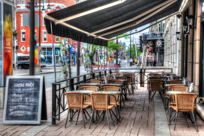 Urban Restaurant Outdoor Seating Terrace - RF Image