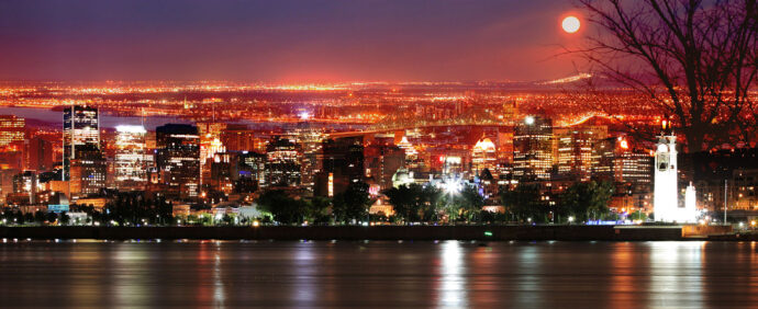 Montreal Skyline in a Beautiful Night