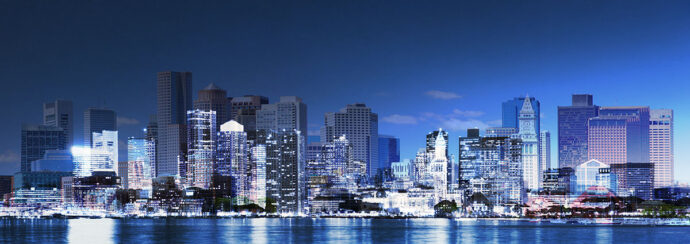Panoramic Boston City Photo Montage - Dimensions: 8000 by 2832 pixels
