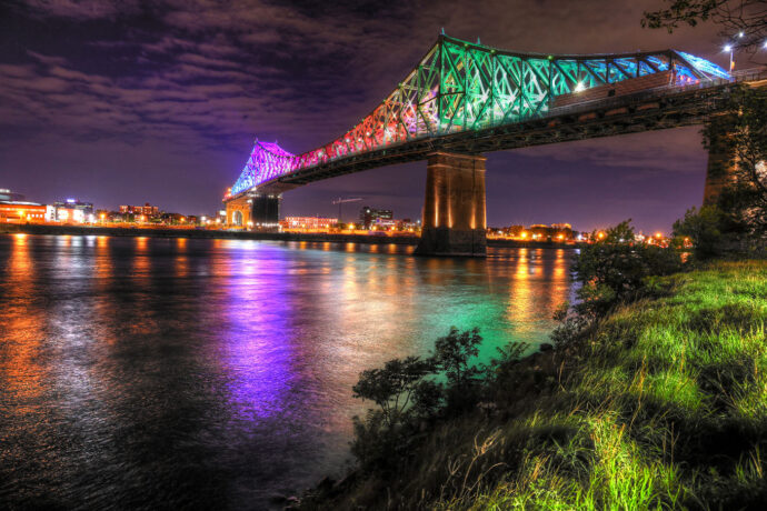 Colorful Jacques Cartier Bridge in Montreal City during Covid 19