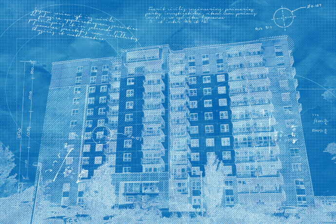 Mid-Rise Apartment Building Construction Blueprint Design
